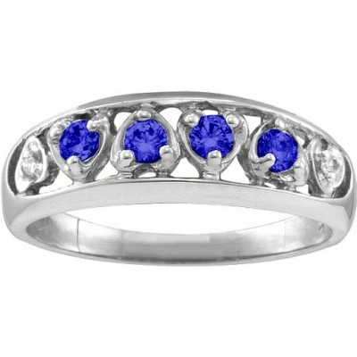 Lyric  Embedded Hearts Ring with 2-6 stones  - Name My Jewelry ™