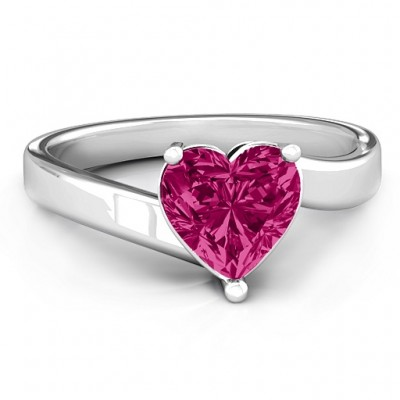 Passion  Large Heart Solitaire Ring - Name My Jewelry ™