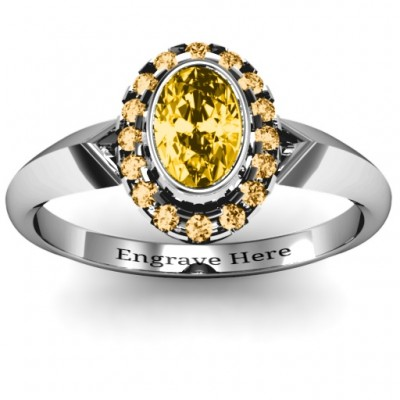 Royal  Bezel Set Oval Cluster Ring - Name My Jewelry ™
