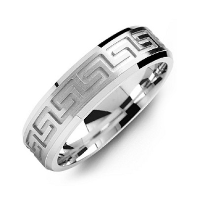 Greek Key Eternity Grooved Men's Ring - Name My Jewelry ™