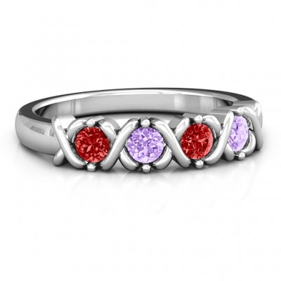 2 to 5 Stone Hugs and Kisses XOXO Ring  - Name My Jewelry ™