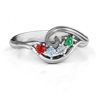 3 - 8 Stone Swirl Ring  - Name My Jewelry ™