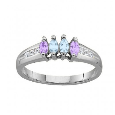 3-6 Marquise Ring With Channel Set Accents - Name My Jewelry ™