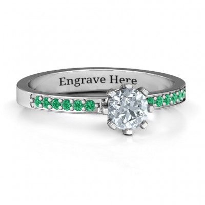 8 Prong Solitaire Set Ring with Twin Channel Accent Rows - Name My Jewelry ™