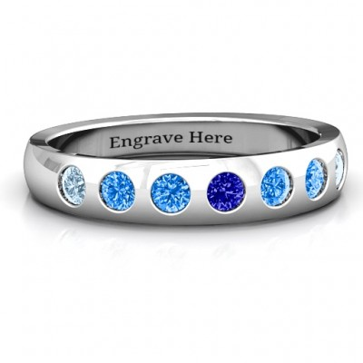 Gypsy Set Gemstone Belt Ring  - Name My Jewelry ™