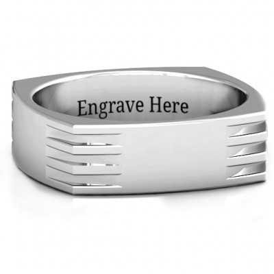 Areo Grooved Square-shaped Men's Ring - Name My Jewelry ™