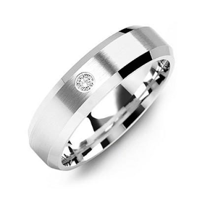 Beveled-Edge Brushed Men's Gemstone Ring  - Name My Jewelry ™