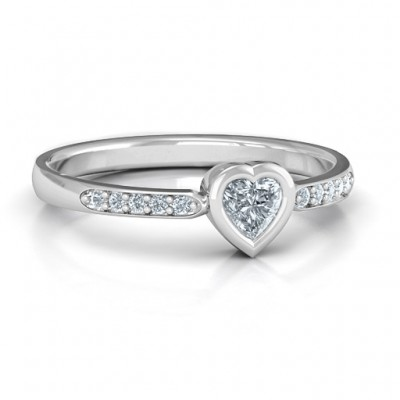 Bezel Set Love Ring with Accents - Name My Jewelry ™