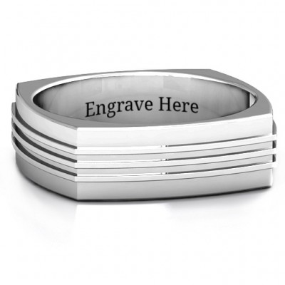 Bridge Grooved Square-shaped Men's Ring - Name My Jewelry ™