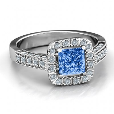 Brilliant Princess Ring with Profile Accents - Name My Jewelry ™