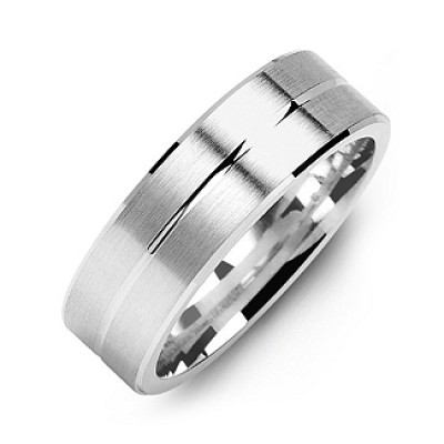 Brushed Men's Ring with Beveled Edges and Lined Centre - Name My Jewelry ™