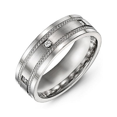 Brushed Men's Ring with Rope Detail and Gemstone Accents  - Name My Jewelry ™