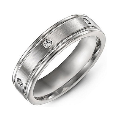 Brushed Milgrain Men's Ring with Gemstone Accents  - Name My Jewelry ™