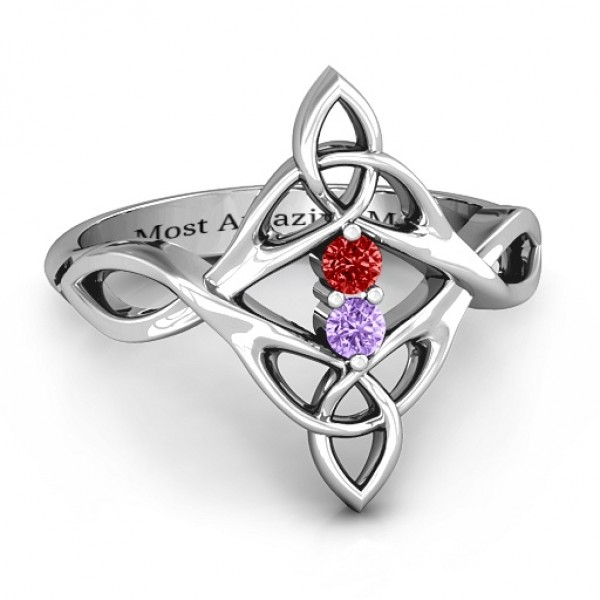 Celtic Sparkle Ring with Interwoven Infinity Band - Name My Jewelry ™