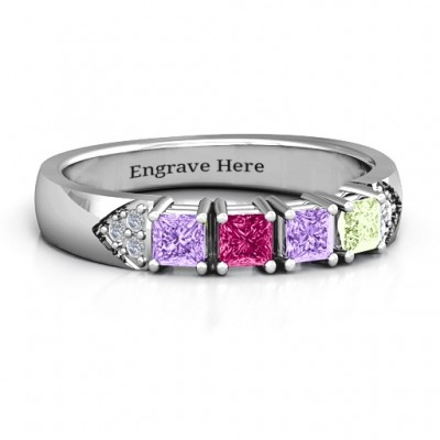 Classic 2-7 Princess Cut Ring with Accents - Name My Jewelry ™