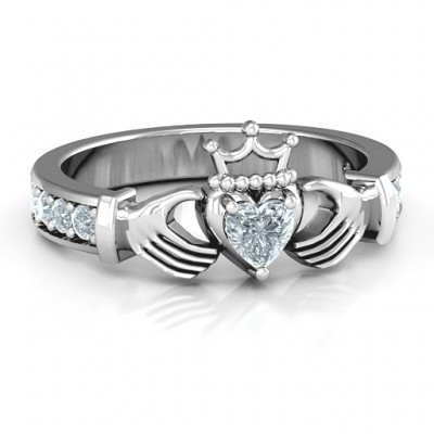 Classic Claddagh Heart Cut Ring with Accents - Name My Jewelry ™