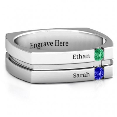 Crevice Grooved Square-shaped Gemstone Men's Ring  - Name My Jewelry ™