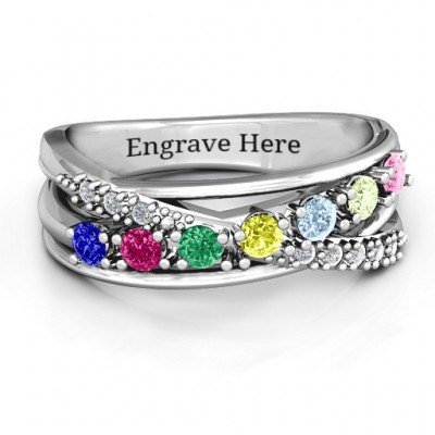 Crossover Accent Multi Band Ring - Name My Jewelry ™