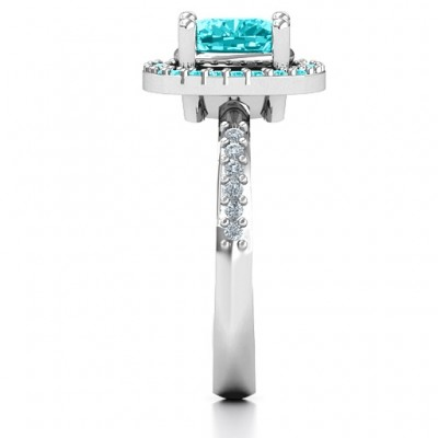 Cushion Cut Statement Ring with Halo - Name My Jewelry ™