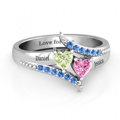 Diagonal Dream Ring With Heart Stones  - Name My Jewelry ™