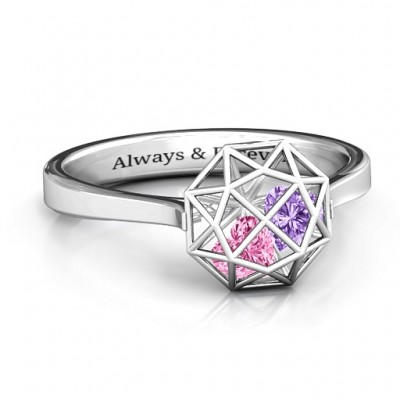 Diamond Cage Ring with Encased Heart Stones  - Name My Jewelry ™