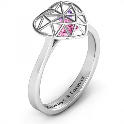 Diamond Heart Cage Ring With Encased Heart Stones  - Name My Jewelry ™