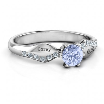 Dimpled Solitaire with Accents Ring - Name My Jewelry ™