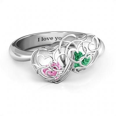Double Heart Cage Ring with 1-6 Heart Shaped Birthstones  - Name My Jewelry ™