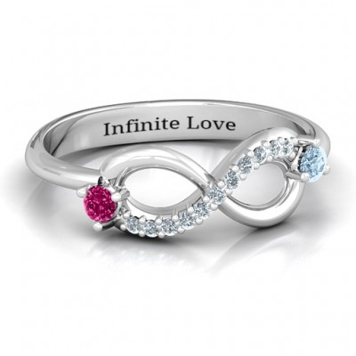Double Stone Infinity Accent Ring  - Name My Jewelry ™