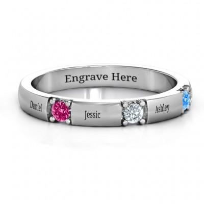 Elegant Three Gemstone Ring  - Name My Jewelry ™