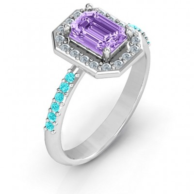 Emerald Cut Cocktail Ring with Halo - Name My Jewelry ™