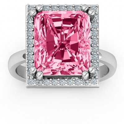 Emerald Cut Statement Ring with Halo - Name My Jewelry ™