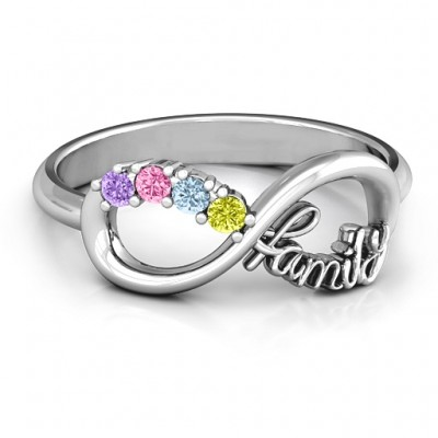 Family Infinite Love with Stones Ring  - Name My Jewelry ™