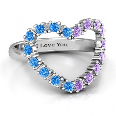Floating Heart with Stones Ring  - Name My Jewelry ™