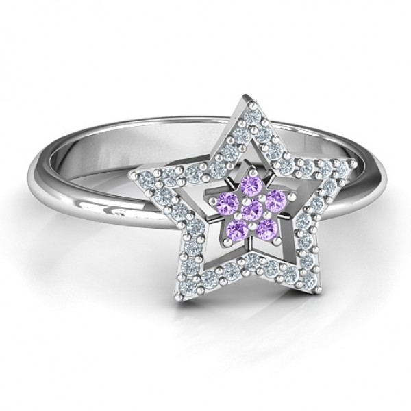 Floating Star with Halo Ring - Name My Jewelry ™