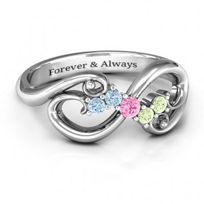 Flourish Infinity Ring with Gemstones  - Name My Jewelry ™