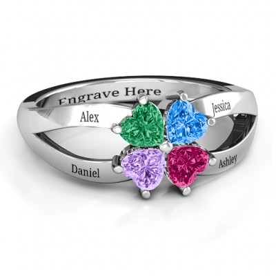 Four Clover Hearts Ring - Name My Jewelry ™