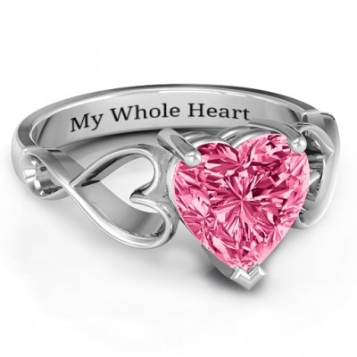 Heart Shaped Stone with Interwoven Heart Infinity Band Ring  - Name My Jewelry ™