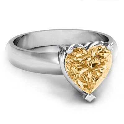 Heart Stone in a Double Gallery Setting Ring  - Name My Jewelry ™