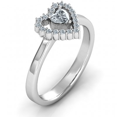 Heart in Heart Halo Ring - Name My Jewelry ™