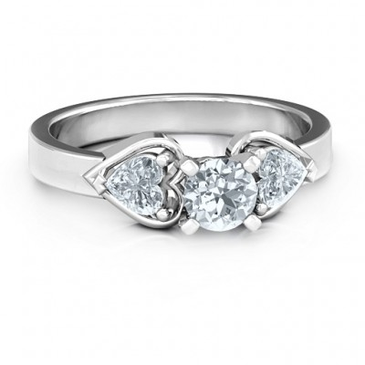 Hearts and Stones Solitaire Ring  - Name My Jewelry ™