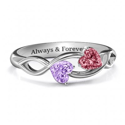 Heavenly Hearts Ring with Heart Gemstones  - Name My Jewelry ™