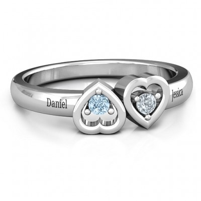 Inverted Kissing Hearts Ring - Name My Jewelry ™