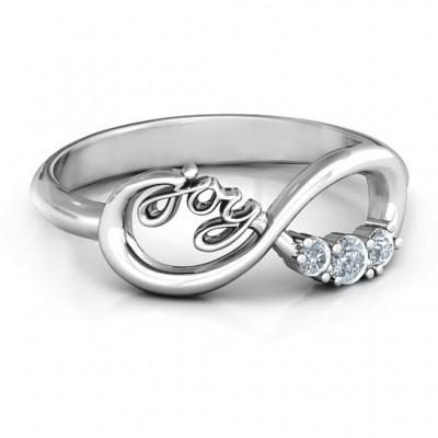 Joy Infinity Ring with 3 Stones  - Name My Jewelry ™