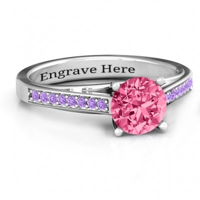 Large Round Solitaire Ring with Channel Set Accents - Name My Jewelry ™