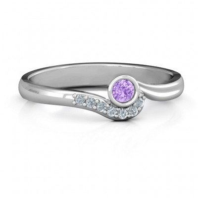 Low Wave Ring with Accents - Name My Jewelry ™