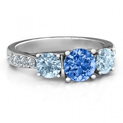 Majestic Three Stone Eternity Ring with Accents  - Name My Jewelry ™