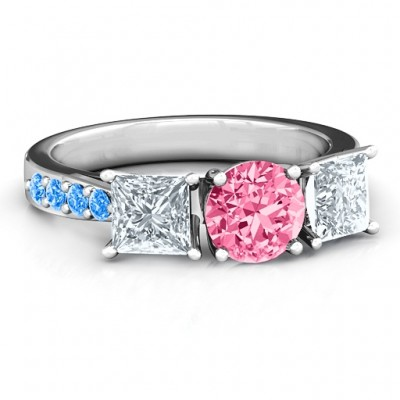 Majestic Three Stone Eternity with Twin Accents Ring  - Name My Jewelry ™