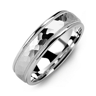 Matte Hammer-Cut Men's Ring with Milgrain Detail - Name My Jewelry ™