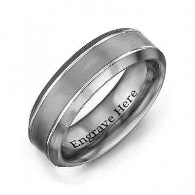 Men's Beveled Edge Brushed Centre Tungsten Ring - Name My Jewelry ™